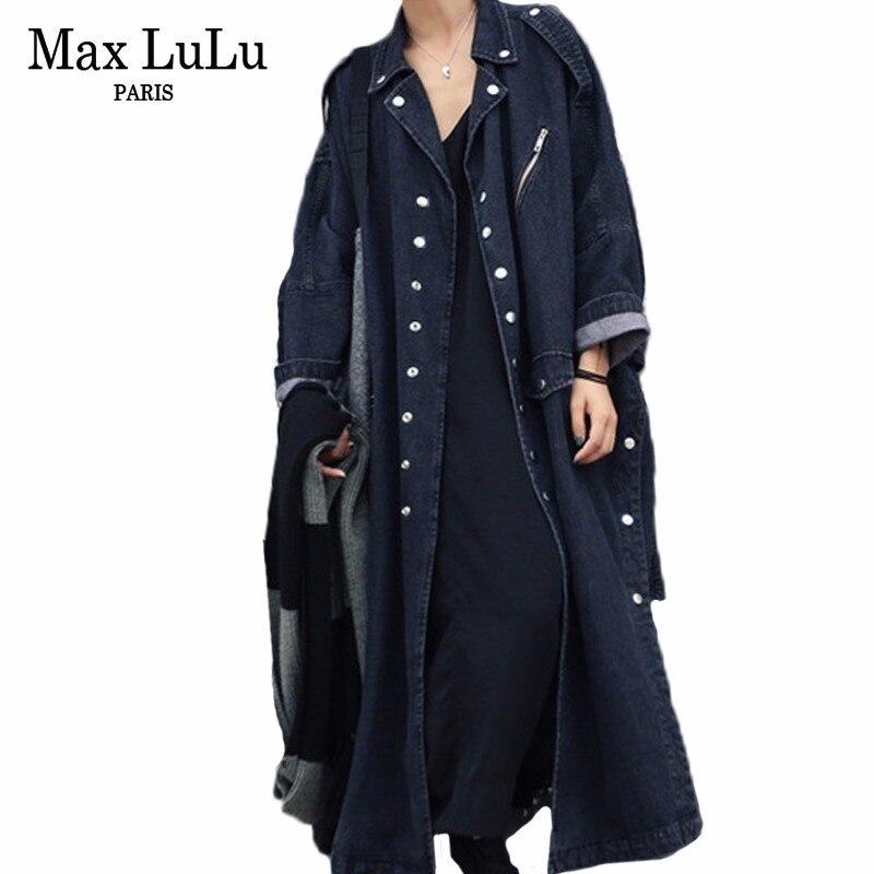 최대 lulu 2019 가을 패션 한국어 streetwear 숙녀 캐주얼 블랙 롱 코트 여성 데님 트렌치 펑크 진 윈드 브레이커 플러스 사이즈-에서트렌치부터 여성 의류 의  그룹 1