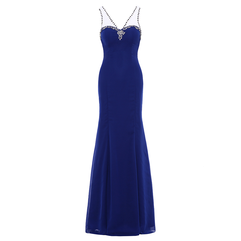 Dressv royal blue beading v neck long   evening     dress   sleeveless wedding party formal   dress   a line   evening     dresses