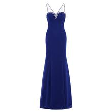 Dressv royal blue frezowanie v neck długa suknia bez rękawów ślubna formalna sukienka na przyjęcie wieczorowe linii tanie tanio Suknie wieczorowe Formalna wieczór V-neck NONE Poliester -Line Długość podłogi Szyfonowa Naturalne 12953939 simple