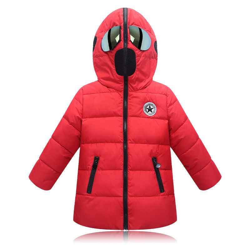 Erkek kış ceket çocuk kapşonlu ceket gözlük kadife aşağı ceket kız ceket karikatür yastıklı çocuk kış ceket 4 14 yıl
