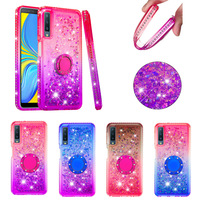 Glitter Liquid Case For samsung A7 A9 A9S ring holder diamond colorful shining Soft TPU Phone Case For samsung A6 A5 A10 M10 M20