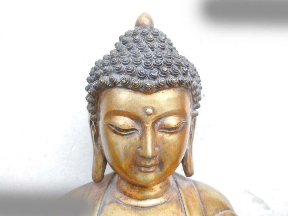 free shipping 17 China copper Bronze gild fine Buddhism Sakyamuni buddha Sculpture statue A 0505