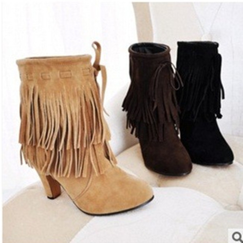 Lady big size(4 -15) Tassel Nubuck leather velvet women boots round toe Mid- calf winter boot thick high heel boots 3colors lady big size 4 15 tassel nubuck leather velvet women boots round toe mid calf winter boot thick high heel boots 3colors