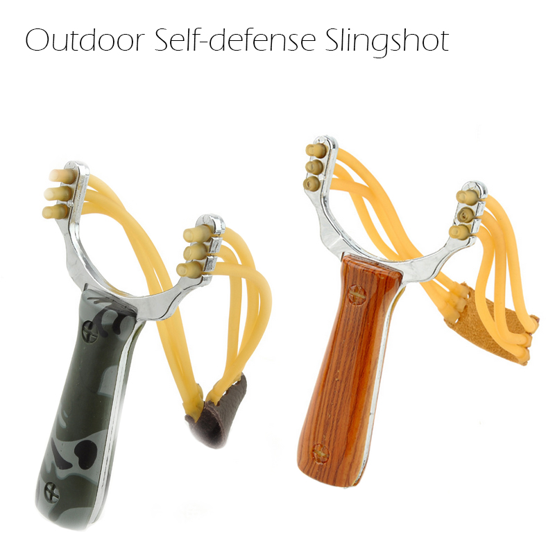 Outdoor Self Defense Slingshot Aluminium Alloy Powerful Steel Catapult Marble Hunting Games Bow Catapult With Rubber Band
