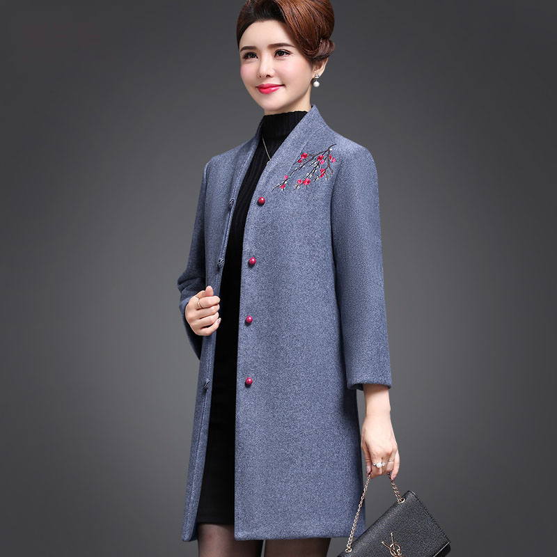 Fashion Winter Woolen Jackets Women Finely embroidered flowers Temperament Slim Long Wool Coat High quality Winter