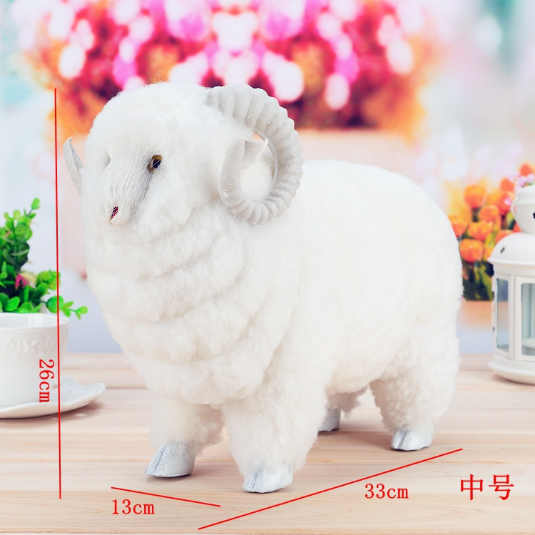 Jouet de mouton de simulation de taille moyenne en plastique et fourrure cadeau de poupée de mouton blanc environ 33x16x23 cm a48