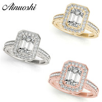 AINUOSHI Fashion 925 Sterling Silver White Gold Yellow Gold Rose Gold Color Wedding Rings Women Engagement Halo Silver Ring Gift