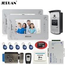 "JERUAN 7"" video door phone intercom system 2 montiors 1 camera access control system video recording+electronic lock+8GB Card"