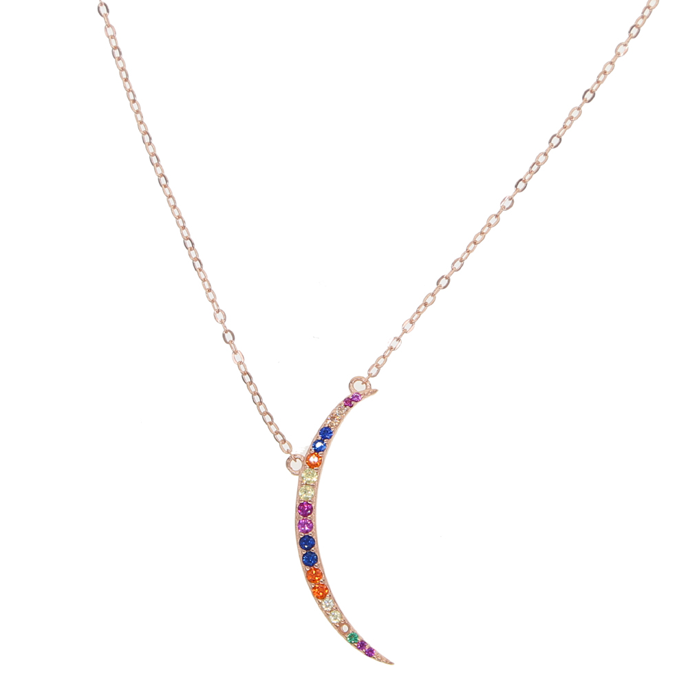 2018 new multi color moon crescent moon charm summer colorful cute delicate girl women skinny moon necklace 925 sterling silver vicolo northland майка