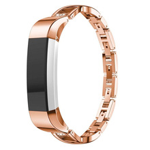 Suitable for Fitbit Alta HR Stainless Steel Metal Alloy Diamond X-shaped Belt Wrist Strap