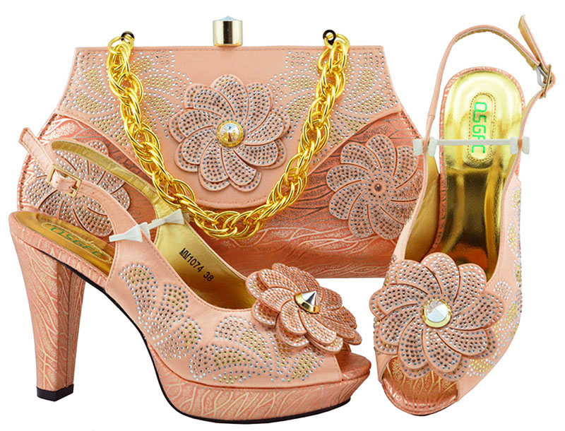 Latest Design 2018 Wedding Italian Peach Shoes And Matching Bag Set Wedding And Party High heel African Shoes With Bag Set g36 wholesale gold wedding shoes and bag set hot selling latest african wedding lady shoes matching bag with stones