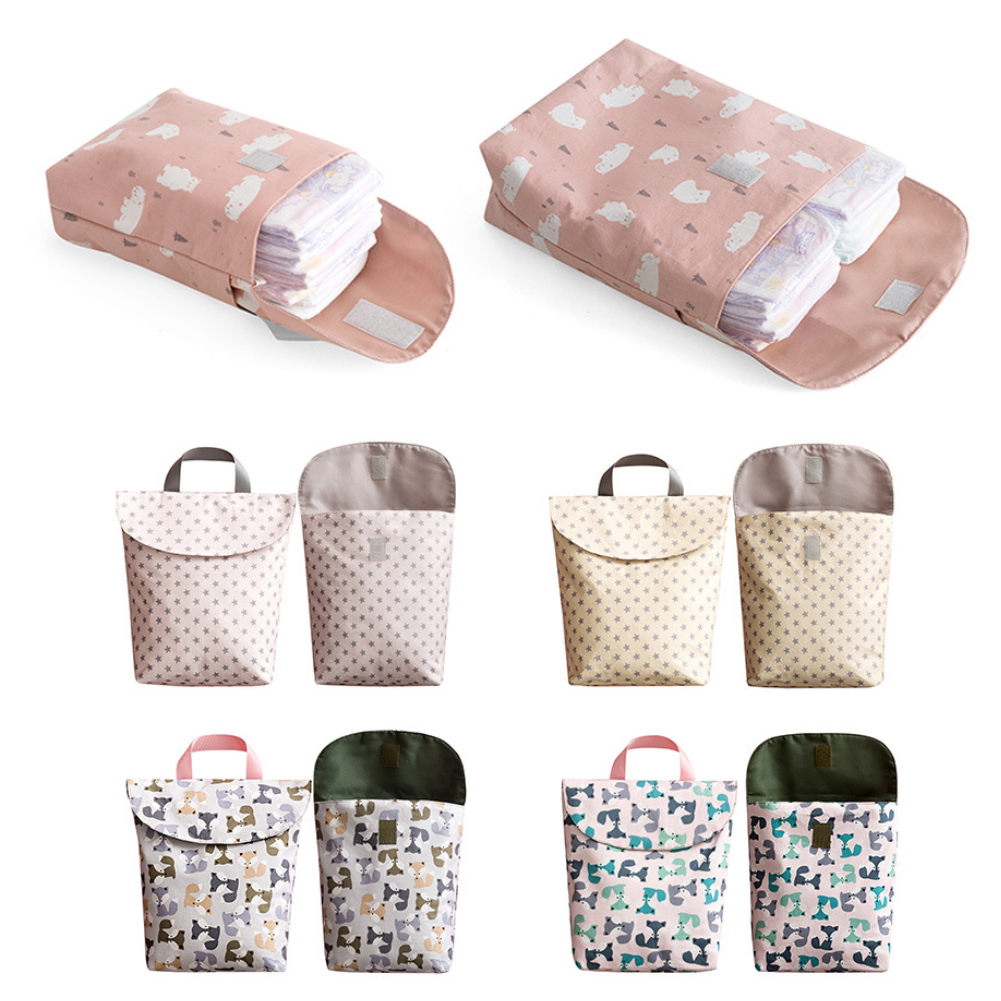 Hot Sale Baby Newborn Mini Waterproof Wet Dry Mom Bag for Baby Infant Cloth Diaper Nappy Pouch Reusable travel outdoor