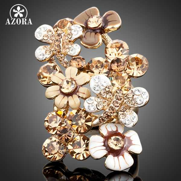 AZORA Gold Color Multicolour Stellux Austrian Crystal Bees gather Flowers Ring TR0030