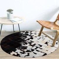 Ручная работа пэтчворк воловья кожа сшивание круглый коврик кабинет черно белая гостиная подкладка для кофейного столика ковер для спальн