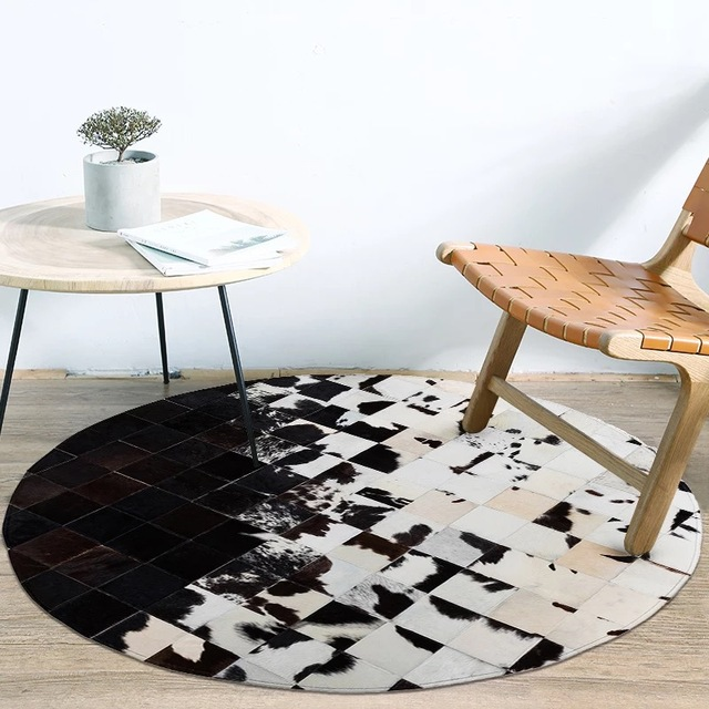 Handmade Patchwork Cowhide Leather Sching Round Rug Study Room Black And White Living Coffee Table Mat Bedroom Carpet