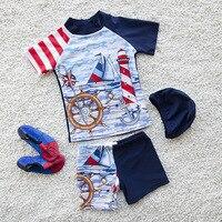 New Arrival Sailing Boat Kids Swimsuit Quality Boys Baby Swimwear Two pieces Bath Suit Infant Popular Children Beachwear 2 10Y