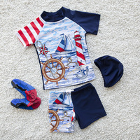 New Arrival Sailing Boat Kids Swimsuit Quality Boys Baby Swimwear Two pieces Bath Suit Infant Popular Children Beachwear 2 10Y