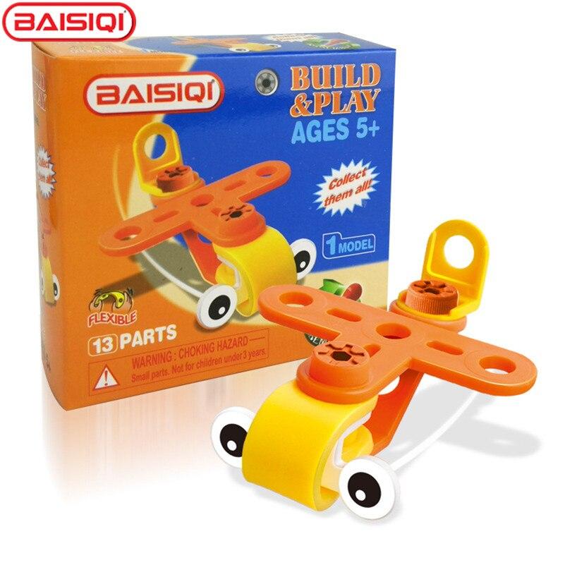 BAISIQI Flexible Construction Brick for kid Soft Orange Plane Assembly tool toy Boy DIY Montessori Learning Educational 6819 diy assembly solar power car toy blue black orange