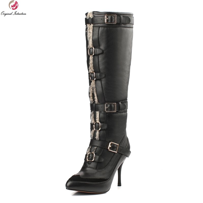 Original Intention Fashion Women Knee High Boots Fur Pointed Toe Thin Heels Winter Boots Warm Black Shoes Woman US Size 3-9.5 original intention women over the knee boots fashion pointed toe wedges winter boots fashion black shoes woman us size 3 5 13