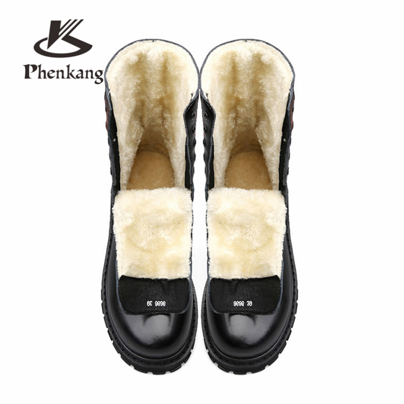 Men Split Leather Winter Boots For Men Winter Shoes army Warm Plush Flats boots lace up black men boots plus size Phenkang club lace up genuine leather men boots snow winter warm plush causal flats shoes mens waterproof ankle boots plus size 37 47