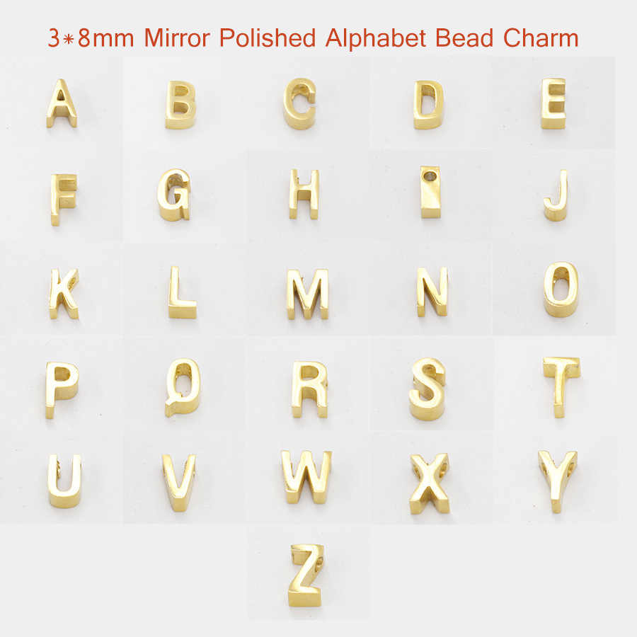 (10Pcs) A-Z Initial Letters Alphabet Pendant Charms Stainless Steel Mirror Polished Letter Charm For Bracelet Necklace DIY New
