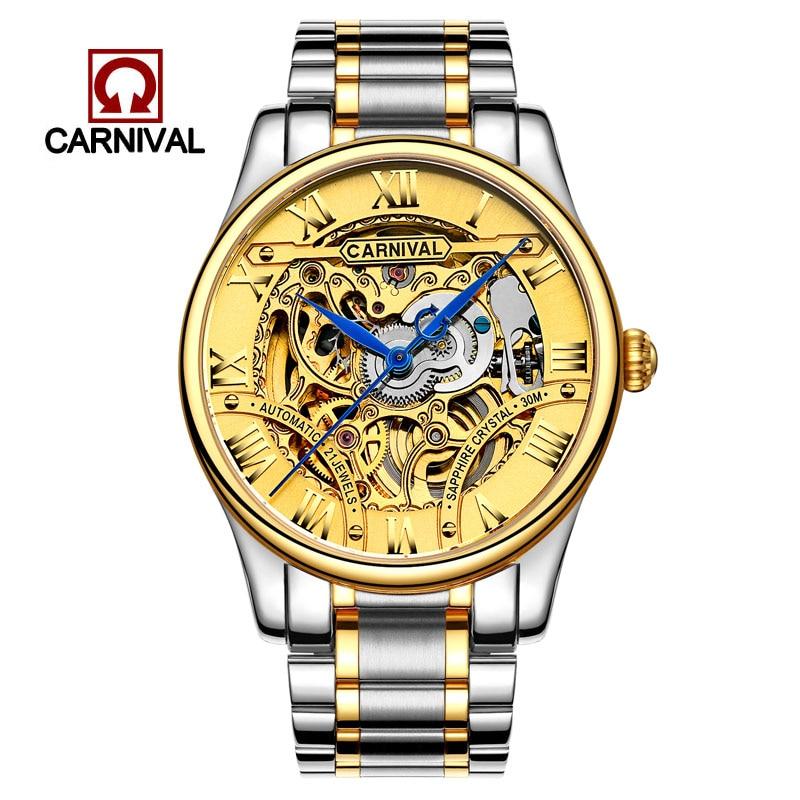 Classic Carnival Watches Men  Skeleton Mechanical Wristwatche Stainless Steel Male Waterproof reloj hom  Watch Sapphire