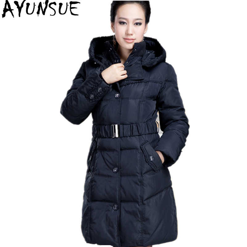 00494be71b2 AYUNSUE 2018 90% белая куртка-пуховик зимнее теплое пальто женские длинные  куртки для женщин