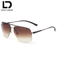 DOLCE VISION Metal Half Frame Gradient Men Sunglasses High Quality Oversized Shield Sun Glasses For Men