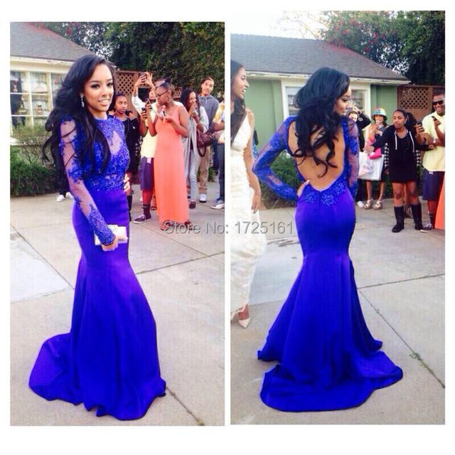 Backless Royal Blue Mermaid Appliques Beads Long Prom Party Dress