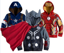 Kids cartoon Clothes baby outerwear for Spring Autumn Retail Children's Coat boys Iron Man Captain America hoodies jackets best selling baby outerwear for spring autumn retail children s coat boys hoodies jackets kids cartoon clothes