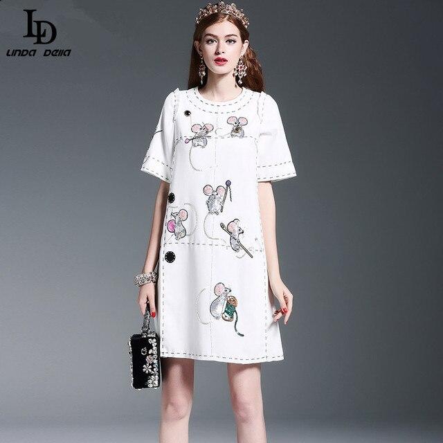 Новая Мода 2016 Взлетно-Посадочной Полосы женской Одежде Высокого Качества Животных Мышь Блесток Бисероплетение Случайные Свободные Straogjt Платье