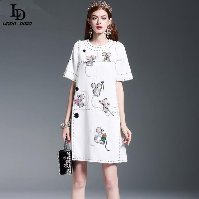New Fashion 2016 Runway Vestido de Alta Qualidade das Mulheres Animais Rato Straogjt Lantejoula Beading Casual Solta Vestido