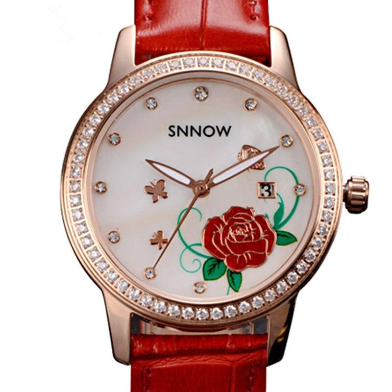 CASIMA SNNOW series fashion Ladies watches grace womem quartz watch Waterproof luminous leather strap 6602