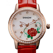 CASIMA SNNOW series fashion Ladies watches grace womem quartz watch Waterproof luminous leather strap 6602