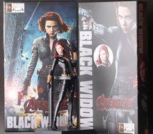 23cm Marvel Anime The Avengers 2 Black Widow Garge Kits Super Hero Black Widow Action Figure Double Gun In Hand Model