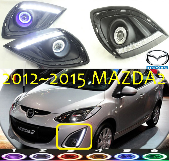 MAZD2 fog light LED 2012~2015 Free ship!MAZD 2 daytime light,2ps/set+wire ON/OFF:Halogen/HID XENON+Ballast,MAZD2