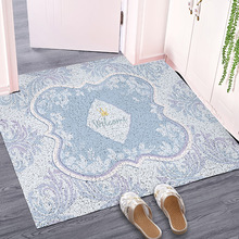 Retro european style Entrance hall carpet PVC wire loop mat ins customize Door Living room floor bathroom non-slip rug