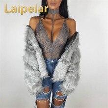 Laipelar Sexy Halter Lace Choker Bodysuit Women Deep V Neck Lingerie Solid Nightwear Babydoll Sleepwear Bodycon