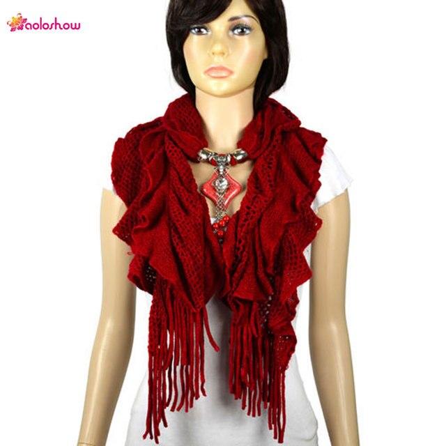 Шерстяной вязаный женский зимний шарф крупная вязка с кистями, 12 цветов, НЛ-2052