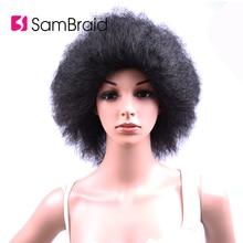 цены на Sambraid Synthetic Wig Short Afro Kinky Straight Black Hair For Women High Temperature Fiber Wig 6inch 100g/piece  в интернет-магазинах