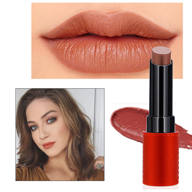 New Fashion Brand Lip Stick Color Cosmetics Long Lasting Pigments Red Brown Matte Velvet Lipstick Nude Lips Makeup
