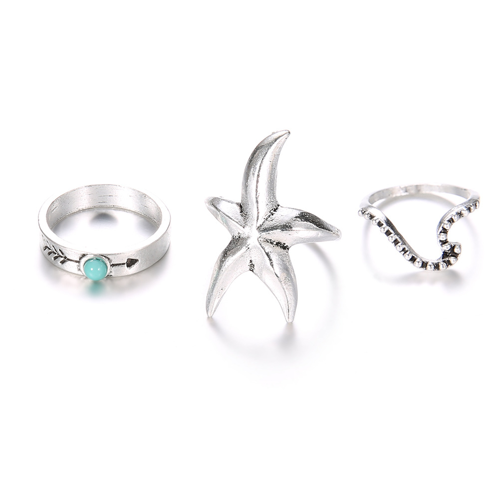Fast Deliver 8seasons Fashion Rings Set Antique Silver Starfish Arrow Wave Bohemia Ring Set Irregular Style Trendy Accessories For Women,1set To Suit The PeopleS Convenience Rings
