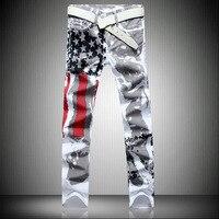 Men Denim Biker Jeans Pant USA Flag Print Slim Fit Trousers Jeans Fashion Brand Luxury Straight