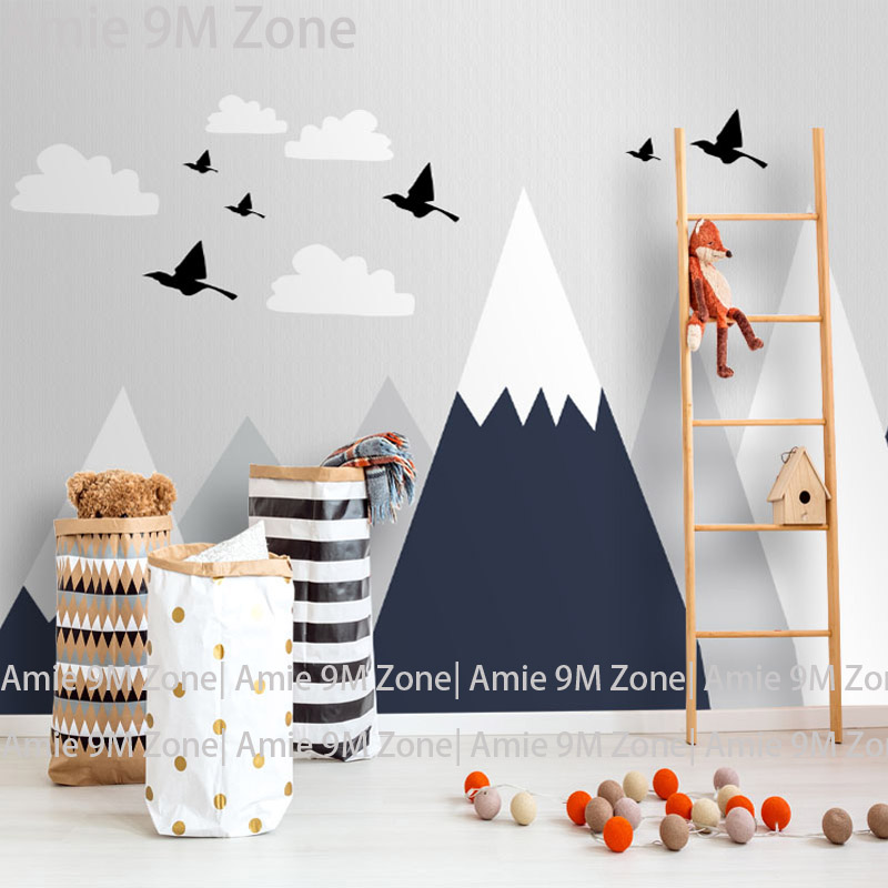 Tuya light grey and moutain drawing pattern for kids bedroom mural wallpapers nursery room living room walldecorTuya light grey and moutain drawing pattern for kids bedroom mural wallpapers nursery room living room walldecor