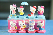 Classsic Cute Hello Kitty Figures with umbrella PVC Action Figure Toys KT Cat Toy 8Pcs/Set 3-4cm Christmas Gift For Child