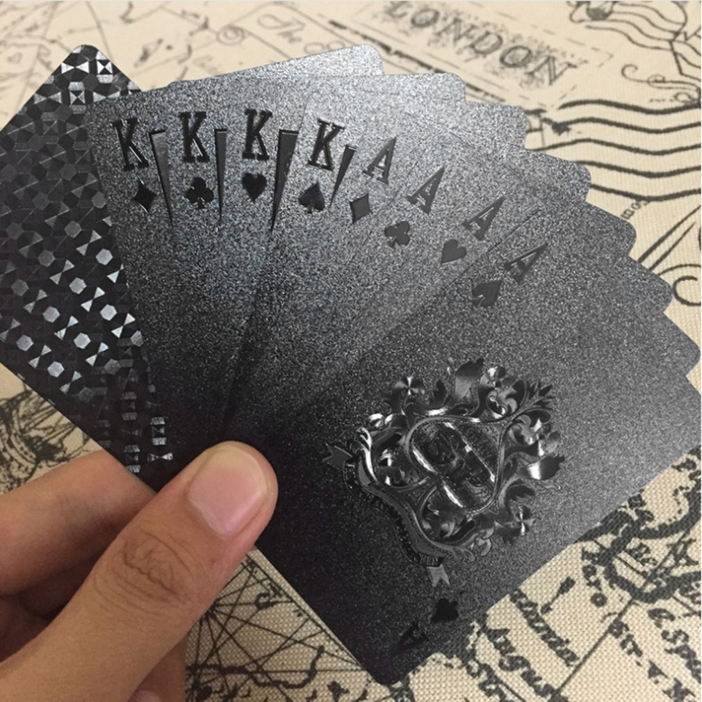 REIZ 54pcs/pack Gold Foil Poker Novelty Collection Waterproof PVC Plastic Playing Cards Set Solid Color Black Board Game