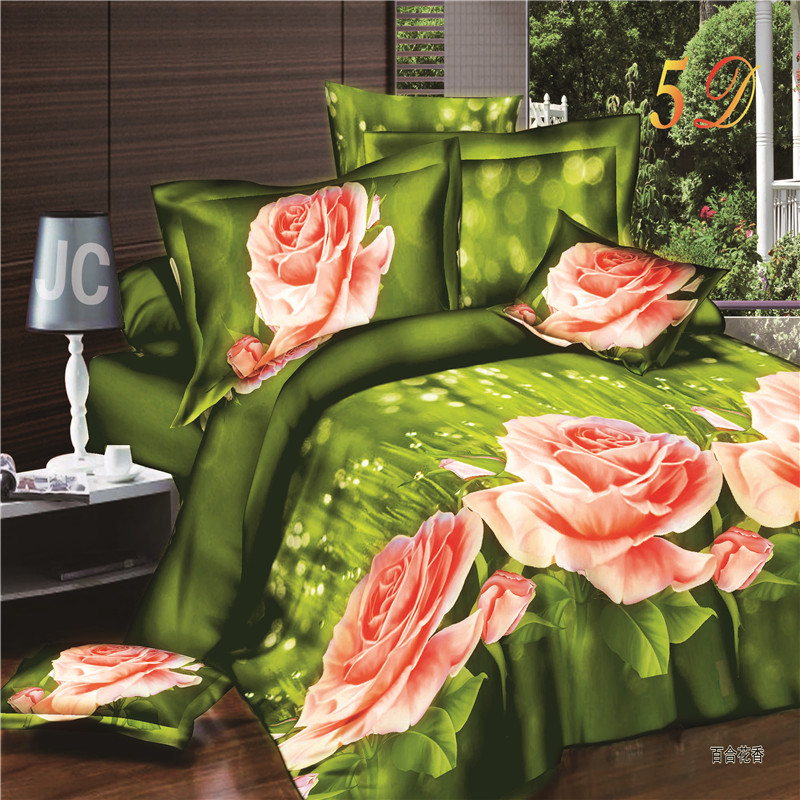 Home Textile 2016 New Design 3d Bedding Sets Pink Lily  Bedding Flowers Set Reactive Print Beding Set 4pcs.