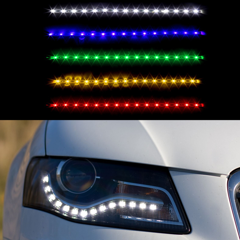 2 Pieces Universal Car Decorative Flexible Daytime Running Light 15SMD 30cm 12V Waterproof COB DRL Fog LED Strip Light Lamp
