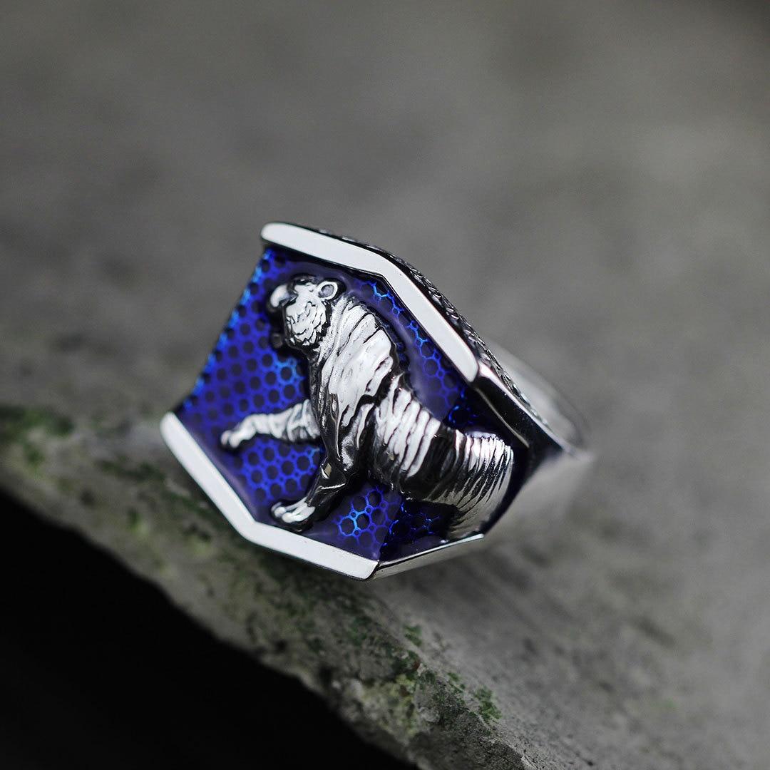 S925 silver jewelry folk style Unisex hollow Shaolan leopard ring processS925 silver jewelry folk style Unisex hollow Shaolan leopard ring process