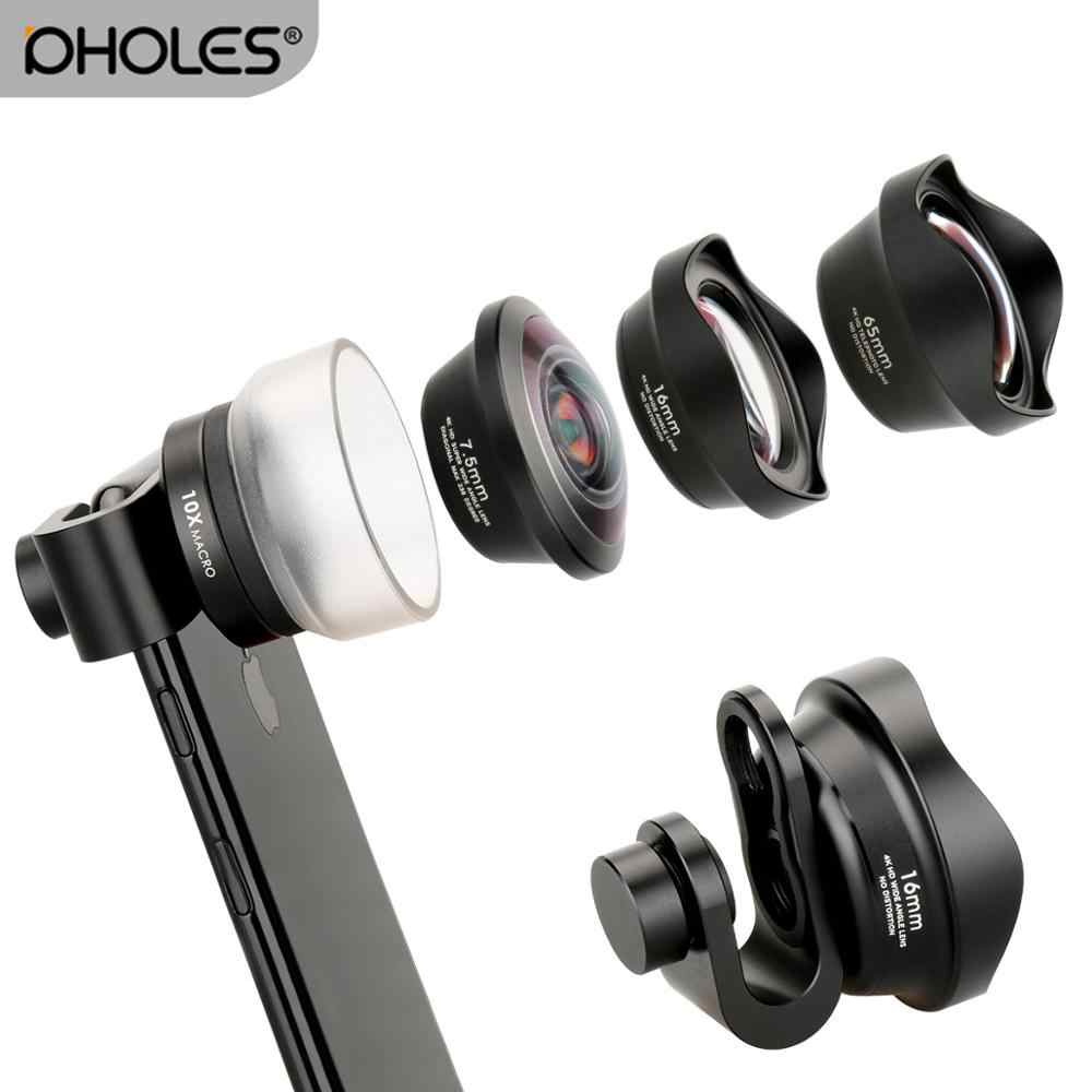 Pholes Wide Angle Macro Lens for iPhone Android Fisheye Portrait Telephoto Lens with Clip for iPhone Xs Max XR X Piexl Samsung